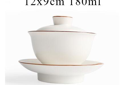 Gaiwan white with gold trim
