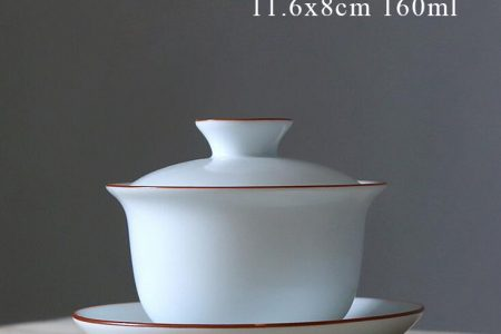 Gaiwan white with red