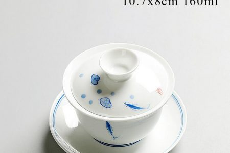 white gaiwan with blue fish